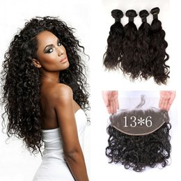 $enCountryForm.capitalKeyWord Australia - 13*6inch Virgin Water Wave Lace Frontal Closure With 4 Bundles Mongolian Human Hair Weaves 8-30inch G-EASY