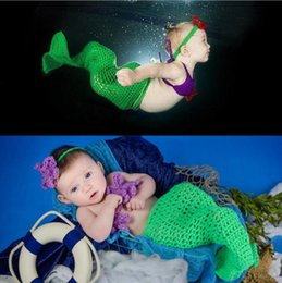 Crochet Baby Cocoon Prop Australia - Crochet Mermaid Cocoon and Headband Photography Props Newborn Girls Mermaid Costume Baby Crochet Outfits 1set