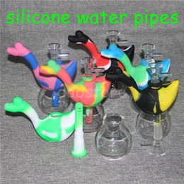 water vapor pipes Australia - Creative Design Swan Silicone Tobacco Smoking Pipes Mini Water silicone Hookah Bong Multi Colors Portable Shisha Hand Pipes Vapor Straw