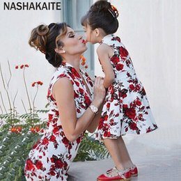206462b89f5758 NASHAKAITE mommy and me clothes Sleeveless Print Slim Mini Dress mother  daughter dresses Mom and daughter matching clothes