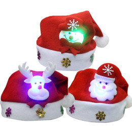 Christmas snowman ornaments online shopping - New Cute Christmas Hat LED Caps Snowman Elk Hat for Children New Year Xmas Kids Gift Home Decorations Christmas Ornaments noJY3