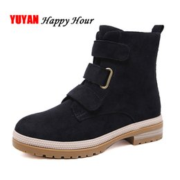 booties winter women UK - Suede Boots Women Winter Shoes 2018 Thick Sole Womens Ankle Boots Genuine Leather Shoes Fashion Brand Woman Booties YX466