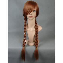 anime long wigs 2019 - Fashion Long Brown Weaving Braid Costume Cosplay Anime Wig Wigs + Wig Cap cheap anime long wigs