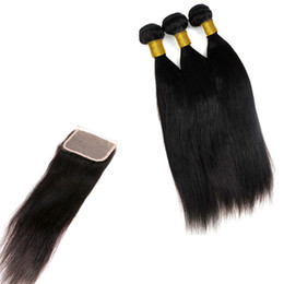 China 8A Virgin Brazilian Hair Bundles With 4X4 Lace Closure Straight Body Wave Unprocessed Remy Human Hair Weaves Extensions cheap closure bundle unprocessed hair weave suppliers