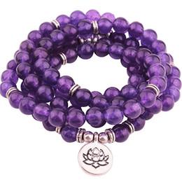 PurPle stone necklace set online shopping - 2018 Design Purple Natural Stone Mala Lotus Bracelet or Necklace Reiki Charged Buddhist