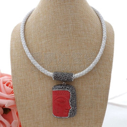 "necklaces pendants Australia - N061111 18"" White Leather Necklace Red Buddha Pendant"