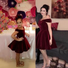 fc46a22ac5 2018 New Mother and Daughter Burgundy Cheap Short Cocktail Dresses Off  Shoulder Pleats Formal Dresses Party Holiday Gowns Little Dresses
