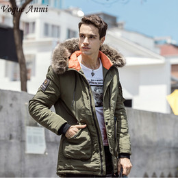 famous brand parka 2019 - Vogue Anmi Winter Jacket Men Long Windproof 2017 Zipper Solid Hood Warm Coat Thick Cotton-Padded Famous Brand Thicken Pa