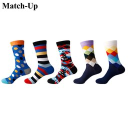 Sock Packs Australia - Match-Up Men Colorful Cotton Stripe Socks Art Patterned Casual Crew Socks 5-Pack Shoe Size 6-12