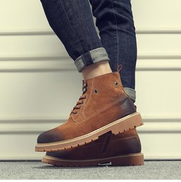 Discount nubuck suede shoes for men - Martin shoes for men fashion leather boots brand designer footwear ins martin boots Suede cowskin shoes zy840