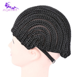 Wholesale Braided Lace Wigs NZ - Fashion 2pcs Cornrow Wig Cap For Making Wigs With Adjustable Strap Crochet Braided Weaving Cap Black Color Lace Wig Elastic Band