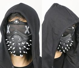Game punk online shopping - Halloween Watch Dogs Punk Devil Game Mask Rivet Death Cool Half Face Latex Mask Party Cosplay Props