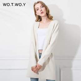 $enCountryForm.capitalKeyWord Canada - WOTWOY Spring Autumn Wool Female Cardigans Sweater Coat knitted Full Sleeves Cardigan Women V-Neck High Quality Long Cardigans