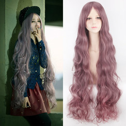 Discount anime long wigs - Z&F Long Cosplay Wigs 1Meter purple cosplay 40 inch wig Hair Wig Wave natural soft Charming Curly Anime