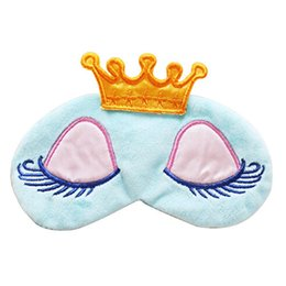 Wholesale Earnest Cute Eyes Cover Crown Style Travel Relax Blindfold Sleeping Blindfold Shade Eye Mask Blue Pink