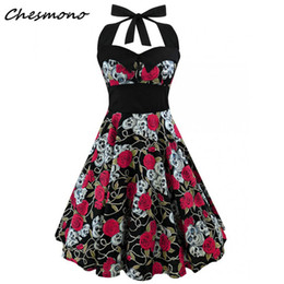 c40749ced8de0 Plus Size Women Floral Skull Print Off Shoulder Sexy Halter Dress Retrp  Vintage Hepburn Style 2018 New Pin Up Rockabilly Vestido