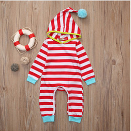 Wholesale Hooded Baby Rompre Pure Cotton Striped Magic Hat Hair Ball Elastic Long Sleeve Button Seams Jumpsuit Hidden Discount Creeping Suit Newborn