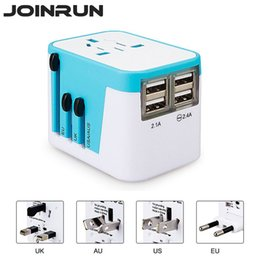 Universal Usb Adapters NZ - Joinrun Universal Travel Adapter Electric Plugs Sockets with 4 USB Charging port US AU UK EU 2.4A LED Power Indicator