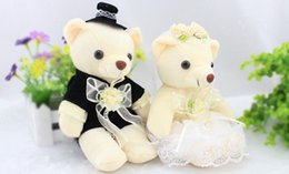92f3888bca High-quality wedding bear couples plush toys teddy bear doll sitting 18cm  Wedding gift Bear Bride & Groom 2pcs pair