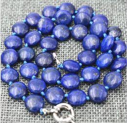 a18a95261867 14mm moneda Natural lapis lazuli piedras preciosas joyas collar loog 36  pulgadas