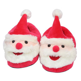 Discount warm shoes for winter - Santa Claus Plush Slippers cartoon Full heel Soft Warm Household Winter flip flop for big children adult Christmas Shoes