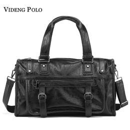 Discount large brown leather men messenger bag - VIDENG POLO Brand Fashion Leather Handbags For Men Large Capacity Portable Travel Bags Package Shoulder Bags Men's