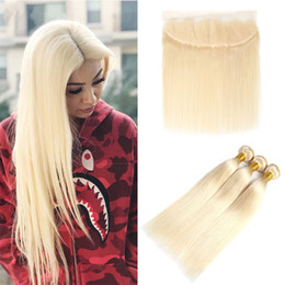 blonde colored hair Australia - 3 Bundles with Lace Frontal Remy Human Hair Weaves With Frontal Silky Straight Colored Brazilian 613# Honey Blonde Hair Extensions
