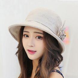 818f2e8de02 Korean version of the curling flowers cotton linen hat women summer UV  folding large hat wild fisherman s Bucket Hats