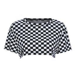 Cropped Tees Australia - Women Fashion Plaid Cropped t-shirt Summer Streetwear t shirt Women Checkerboard Corp Top Short Feminino tee shirt Tops