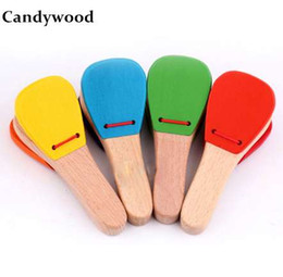 musical instruments for children Canada - Baby kids Wooden toy Musical Instrument Castanet Clapper Handle Musical Instrument Toy For Children Preschool Early Educational