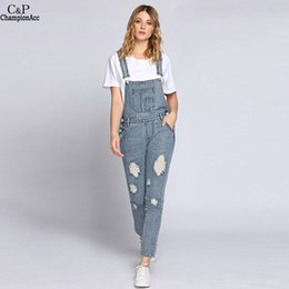 Wholesale Ripped Bleach Wash Jeans Women Jumpsuits Slim Moveable Strap Rompers Casual Pocket Denim Overalls Fashion Jean Jumpsuit