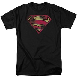 37329079 Superman T Shirts Canada - Superman War Torn Flag Shield DC Comics Licensed  Adult T Shirt