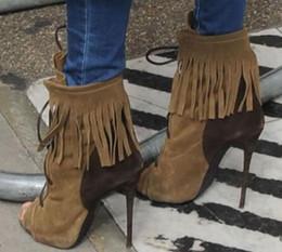$enCountryForm.capitalKeyWord Australia - 2018 Army Green Celebrity Short Boots Peep Toe Sandal Boots Spring Autumn Tassel Shoes Stiletto Heels Cross Tied Color Patchwork Boot