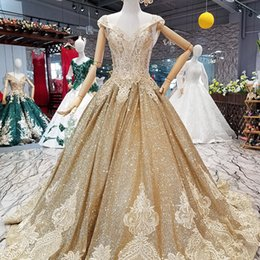 $enCountryForm.capitalKeyWord Australia - 2019 Golden Shiny Dubai Evening Dresses V-Neck Cap Sleeves Evening Party Dresses Lace Up Back With Crystal Collar Chain By Direct From China