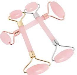 Опт 2018 новый розовый кварц лице релаксация похудения инструмент Джейд ролика массажер розового кварца каменный массаж для лица шеи подбородка оптом