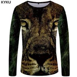 $enCountryForm.capitalKeyWord NZ - KYKU Lion Long T-shirt Men Animal T Shirt Punk Rock Love Sleeve Shirt Gray 3d Printed Tshirt Hip Hop Mens Clothing Casual Tops