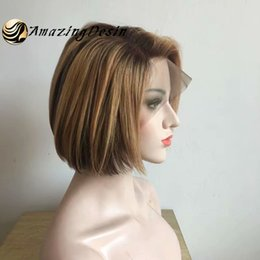 $enCountryForm.capitalKeyWord Australia - Balayage ombre color lace front wig brazilan lace human hair wigs with short BoB hair 130% density