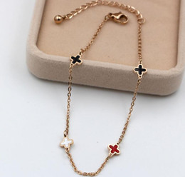 $enCountryForm.capitalKeyWord NZ - Korean version of black and white red color Epoxy double-sided lucky grass bracelet titanium steel rose gold thin chain foot jewelry