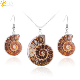 ammonite pendants NZ - CSJA New Special Holiday Birthday Gift for Women Natural Ammonite Conch Shell Fossils Jewelry Set Pendant Necklace Hook Dangle Earrings E392
