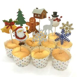 $enCountryForm.capitalKeyWord Australia - 10PCS SET Cake Topper Cupcake Decoration Santa Claus Christmas Tree Elk Gift Box Card Christmas Cake Top Flag Tag