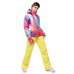 Shoulder Strap Jacket Australia - Ski suit 2018 women's single and double board ski suit women's jacket + waterproof shoulder strap pants mountaineering