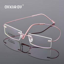 934b9330e7 Lightweight Rimless Glasses Frame Memory Titanium Alloy Eyeglasses Women  Men square Myopia Optical Glasses Frames Brand s5018