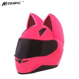 Discount pink moto helmet - NITRINOS Motorcycle Helmet Women Moto Moto Ear Helmet Personality Full Face Motor Helmet 4 Colors Pink Yellow Black Whit