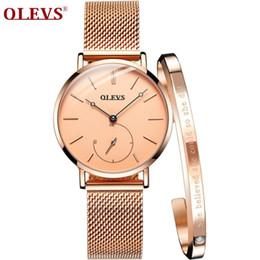 reloj water resistant 2019 - OLEVS Hot Sale Rose Gold Women Watches Bracelet wristwatch for girls Luxury Ladies Watch reloj mujer horloges cheap relo