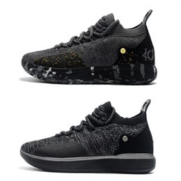 Discount kevin kd shoes - 2018 New Kevin Durant 11 XI Twilight Black Gold Splatter Basketball Shoes for High quality KD11 Men Trainers KD 11s Spor