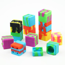 $enCountryForm.capitalKeyWord UK - 20pcs lot 11ml non-stick silicone box dab wax Building blocks shape silicone container for dabs silicone jars oil holder for vaporizer