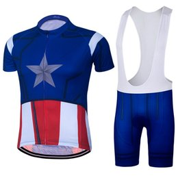 america jersey s UK - 2018 Roupa Ciclismo Captain America Cycling Jersey Set Short Sleeve cycling jersey With Padded Bib Trousers Ultra Breathable Bike Wear