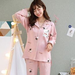 5925df70ab 100% Cotton Pajamas Sets for Women 2018 Autumn Winter Long Sleeve Pyjama  Cute Cartoon Print Pijama Lounge Homewear Home Clothing