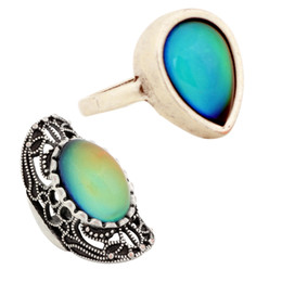 Chinese  2 PCS New Design Ladies Color Change Finger Ring Antique Silver Plated Mood Ring for Sale manufacturers