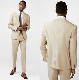 Beige Slim Suits For Men Canada - 2018 Khaki Coat Pant Designs Beige Men Suit Prom Tuxedo Slim Fit 2 Piece Groom Wedding Suits For Men Custom Blazer Terno Masuclino